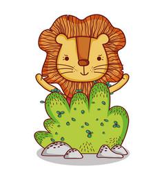 Cute animals little lion cartoon bush nature vector