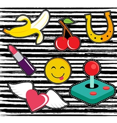 cute cartoon set patches or stickers vector image