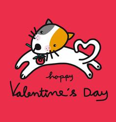 cute cat cartoon and happy valentines day cartoon vector image