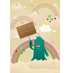 Cute monster with wooden sign vector