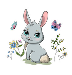 cute spring bunny in garden with flowers vector image