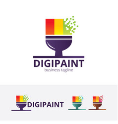 digital paint logo design vector image