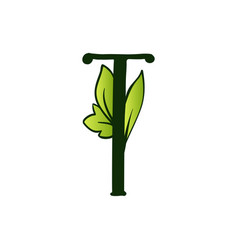 Doodling eco alphabet letter ttype with leaves vector
