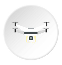 Drone with camera icon circle vector