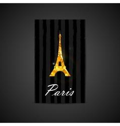 elegant of black card with golden foil Eiffe vector image