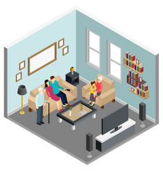 family home isometric interior vector image