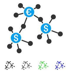 Financial networks flat icon vector