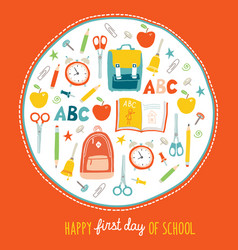 First day of school background card concept vector