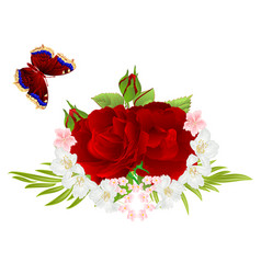 Flowers red roses and buds jasmine and butterfly vector