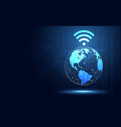 futuristic blue earth with wifi internet abstract vector image