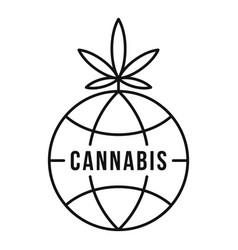 Global cannabis logo outline style vector