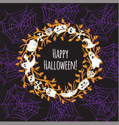 Greeting card for halloween wreath vector