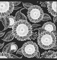 hand drawn sunflower seamless pattern farm plants vector image