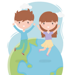 happy children day cute little boy and girl vector image