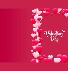 happy valentines day greeting postcard a pink vector image