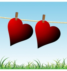 hearts on rope vector image vector image