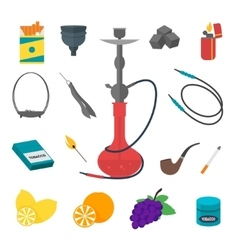 Hookah Flat Icon Set vector image