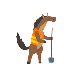 Horse worker with shovel cute humanized animal vector