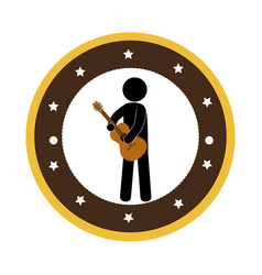 Human playing acoustic guitar instrument icon vector