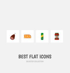 icon flat food set of pasta ham tomato sauce and vector image