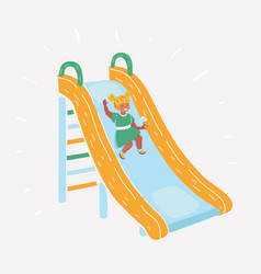 Little girl play a slider at playground vector