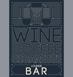 Lounge bar menu geometric pattern design vector