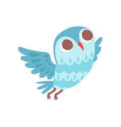 lovely cartoon light blue owlet bird character vector image