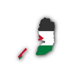 map and flag of palestine vector image