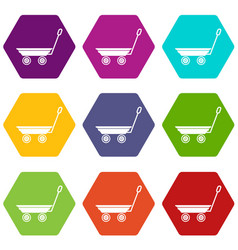 market trolley icons set 9 vector image