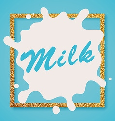 Milk label lettering Milk on a blue background vector image