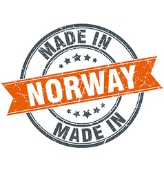 Norway orange grunge ribbon stamp on white vector
