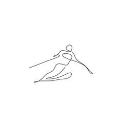 one line skier winter sport symbol design vector image