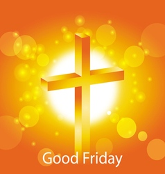 Orange cross with text good friday banner vector
