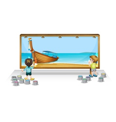 Painting a thai vacation vector
