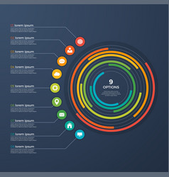 Presentation infographic circle chart 9 options vector