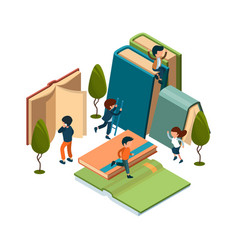 reading concept isometric books reading people vector image