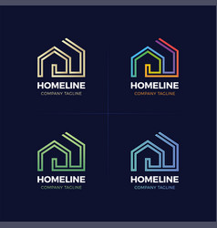 real estate logo home or house line logotype vector image