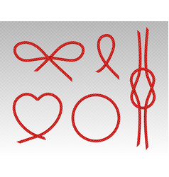red silk cords heart bow round frame and knot vector image