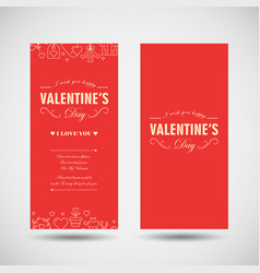 romantic greeting vertical banners vector image