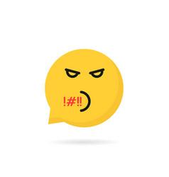 Rude emoji speech bubble logo vector