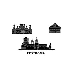 russia kostroma flat travel skyline set russia vector image