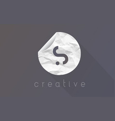 s letter logo with crumpled and torn wrapping vector image
