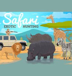 Safari hunting and african animals hunt in jungle vector