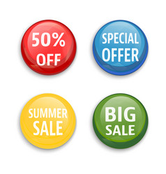 Sale buttons set isolated vector