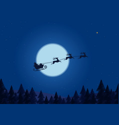 santa flying through night sky under the vector image