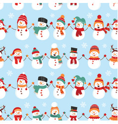seamless pattern with snowman design for wrapping vector image