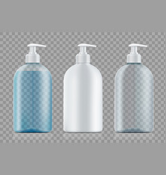 set bottles package with soap and empty vector image