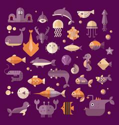 set flat sealife elements plants and vector image