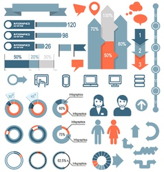 set infographic elements and icons vector image