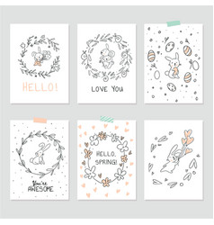 set of interior posters with cute bunnies vector image